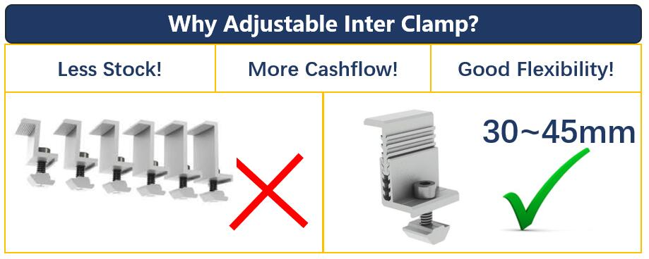 Comparison Adjutable End Clamp Kit Standard End Clamp Kit 30~45mm EndClamp Kit Honunity Technology
