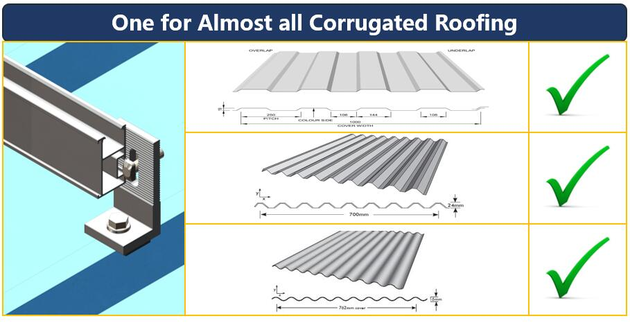 Roof Dimension|L Feet Hook|Corrugated Metal|Solar Roof|Solar Fittings|Honunity Technology