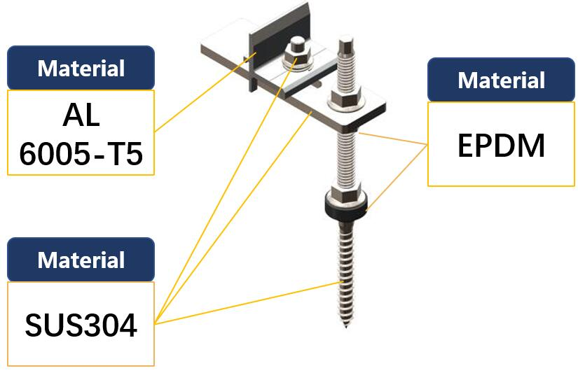 Material Description|Hanger Bolt|Stainless Hook|Solar Roof Fitting|Solar Screw|Honunity