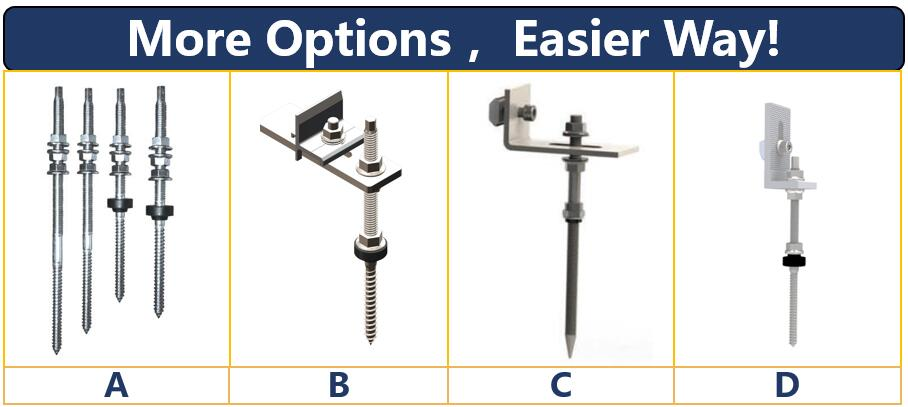 Hook Options|Hanger Bolt|Solar Roof Mount|Honunity