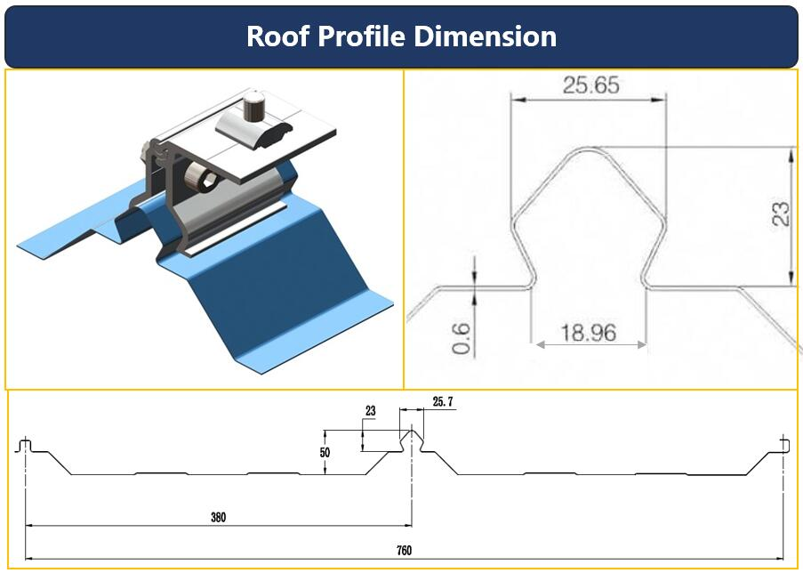 Roof Profile|Dimension|Standing Seam 25|Roof Mount|Solar Energy|Honunity Technology
