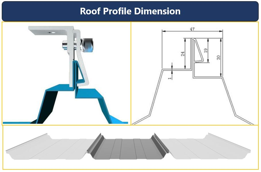 Dimension|Roof Profile|Solar Hook|Standing Seam|Honunity