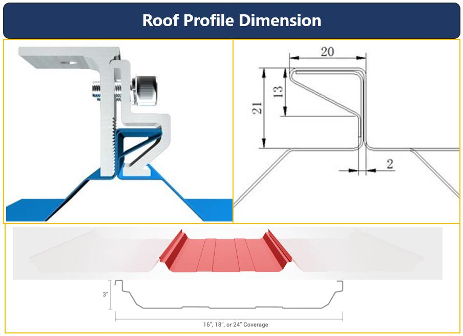 Roof Dimension|Hook Size|Standing Seam 20|Honunity Technology