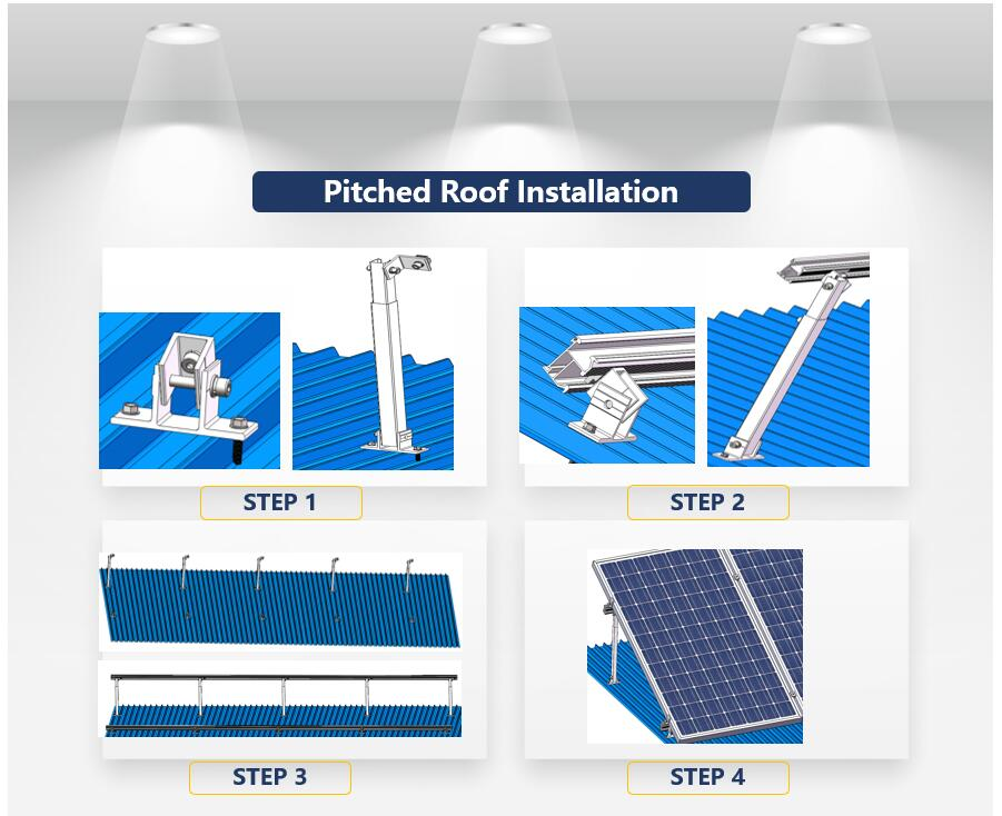 Installation Guideline|Pitched Roof|Adjustable Tilt Legs|Solar Mounting|Solar Panel Fittings|Honunity Technology