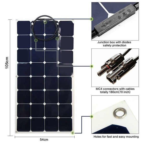Dimension Description_Flexible Panel_Portable Solar Module Kit_Solar system_Honunity Technology