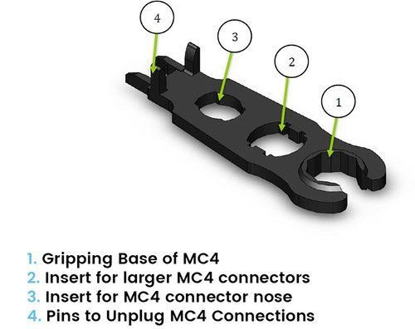 Function Description_Black Color_MC4 Solar Connector Disconnect_disconnecting tool_Solar Cable_Honunity technology